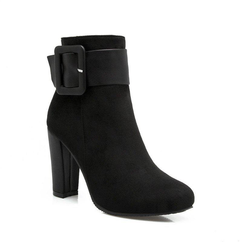 Round Head High Heel Short Boots - BLACK 37