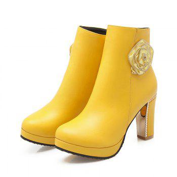 Round Head High Heel Sweet Flower Short Boots - YELLOW YELLOW