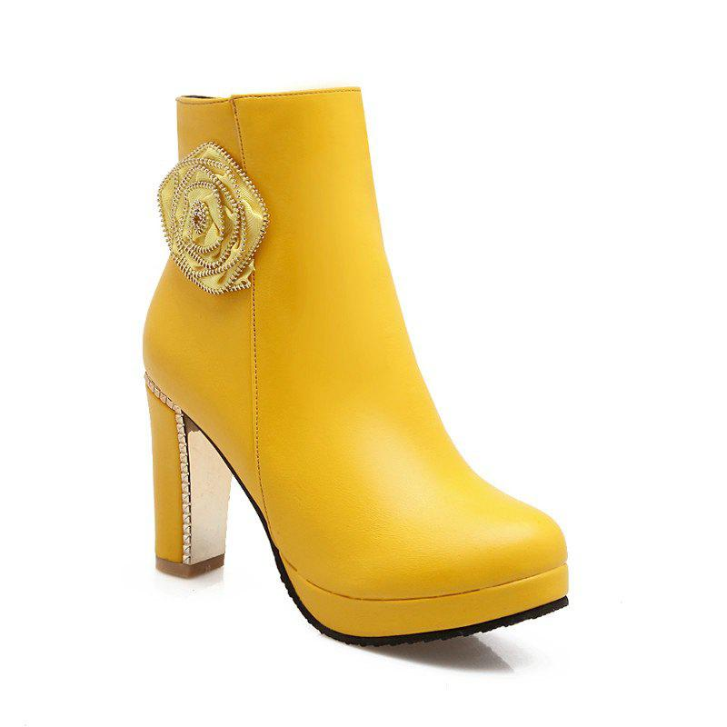 Round Head High Heel Sweet Flower Short Boots - YELLOW 38