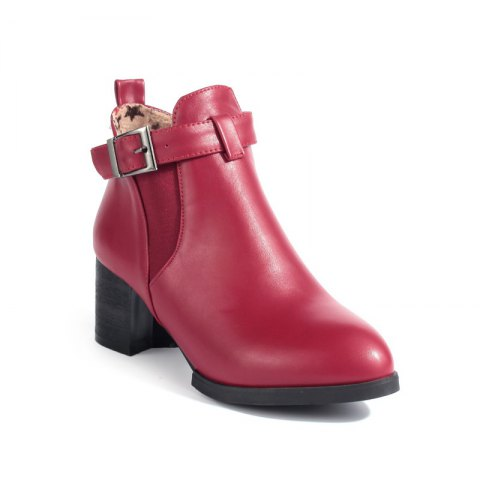Pointed Heel Buckle Naked Boot - RED 35