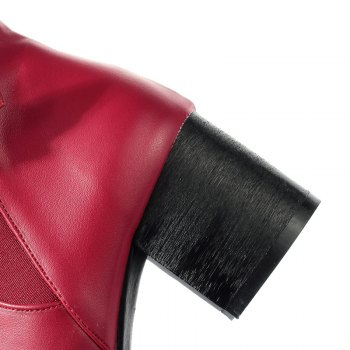 Pointed Heel Buckle Naked Boot - RED RED