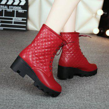 Round Head with Heel and Fashion Plaid Tie Short Boots - WINE RED WINE RED