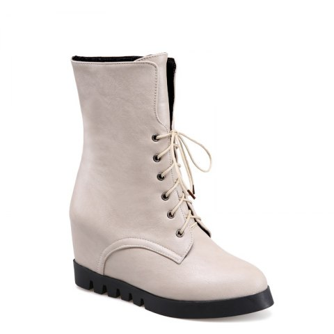 Lace Up Martin Boots with Round Bottom and Flat Bottom - APRICOT 34