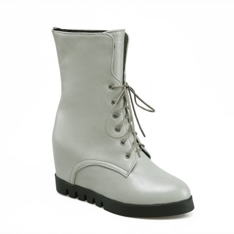 Lace Up Martin Boots with Round Bottom and Flat Bottom - GRAY 39