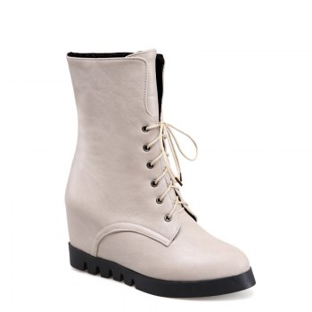 Lace Up Martin Boots with Round Bottom and Flat Bottom - APRICOT APRICOT