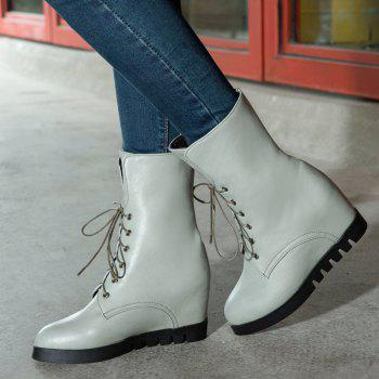 Lace Up Martin Boots with Round Bottom and Flat Bottom - GRAY GRAY