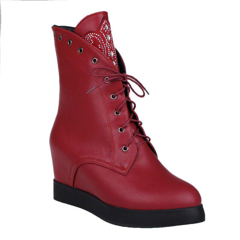 A Flat Bottom Thickness Increased All-Match Martin Lace Up Boots - WINE RED 35