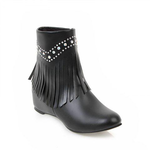 Inside The Head Increases The Fashionable Diamond Fringe Short Boots - BLACK 45