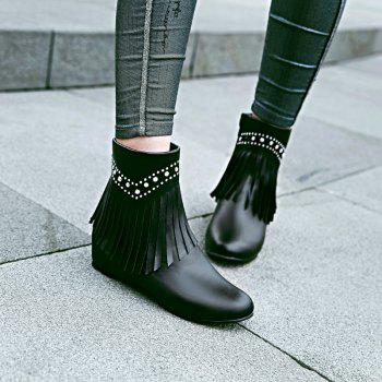 Inside The Head Increases The Fashionable Diamond Fringe Short Boots - BLACK BLACK