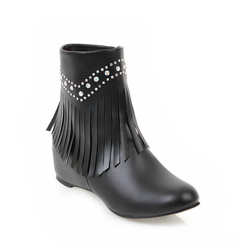 Inside The Head Increases The Fashionable Diamond Fringe Short Boots - BLACK 43