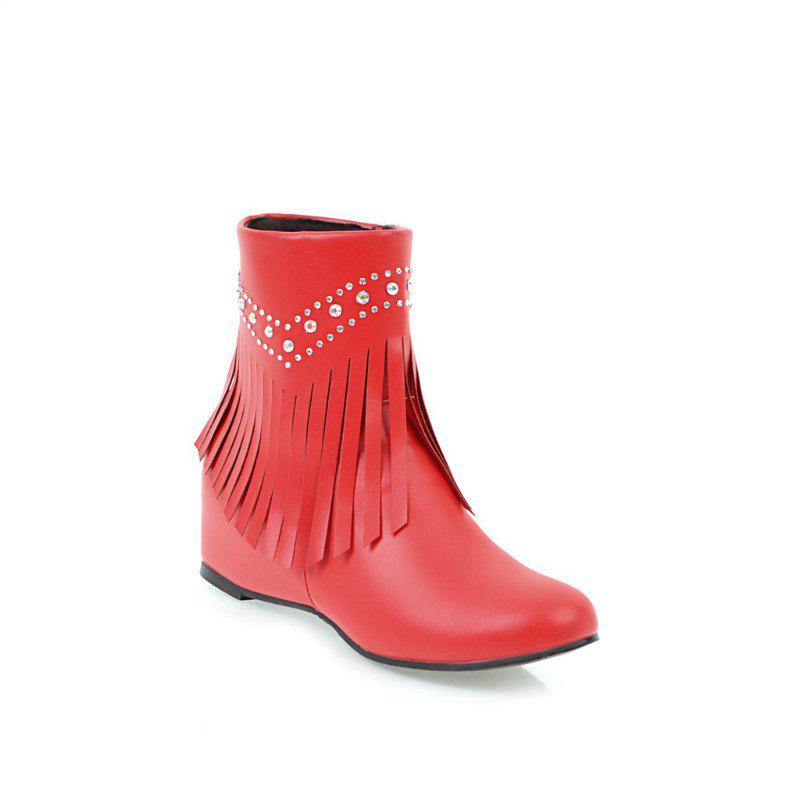 Inside The Head Increases The Fashionable Diamond Fringe Short Boots - RED 37