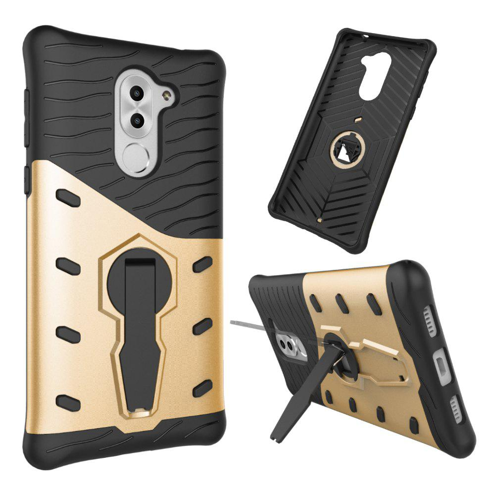 Shockproof with Stand 360 Rotation Back Cover Contrast Color Hard PC Case for Honor 6x / Mate 9 Lite / GR5 (2017) - GOLDEN