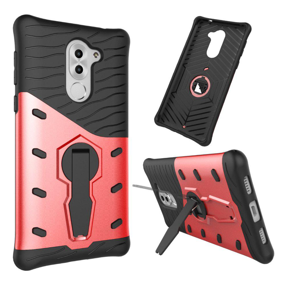 Shockproof with Stand 360 Rotation Back Cover Contrast Color Hard PC Case for Honor 6x / Mate 9 Lite / GR5 (2017) - RED