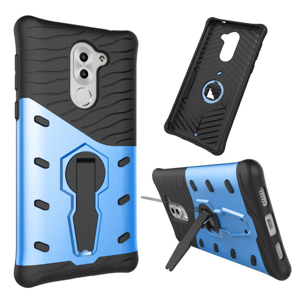 Shockproof with Stand 360 Rotation Back Cover Contrast Color Hard PC Case for Honor 6x / Mate 9 Lite / GR5 (2017) - BLUE