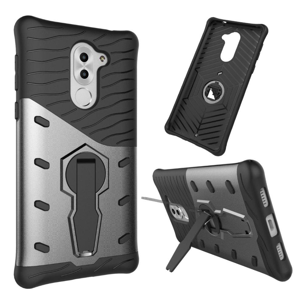 Shockproof with Stand 360 Rotation Back Cover Contrast Color Hard PC Case for Honor 6x / Mate 9 Lite / GR5 (2017) - GRAY