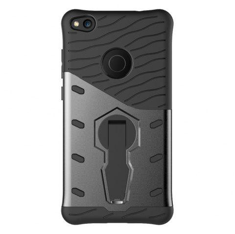 Shockproof with Stand 360 Rotation Back Cover Contrast Color Hard PC Case for Huawei P8 Lite (2017) - GRAY
