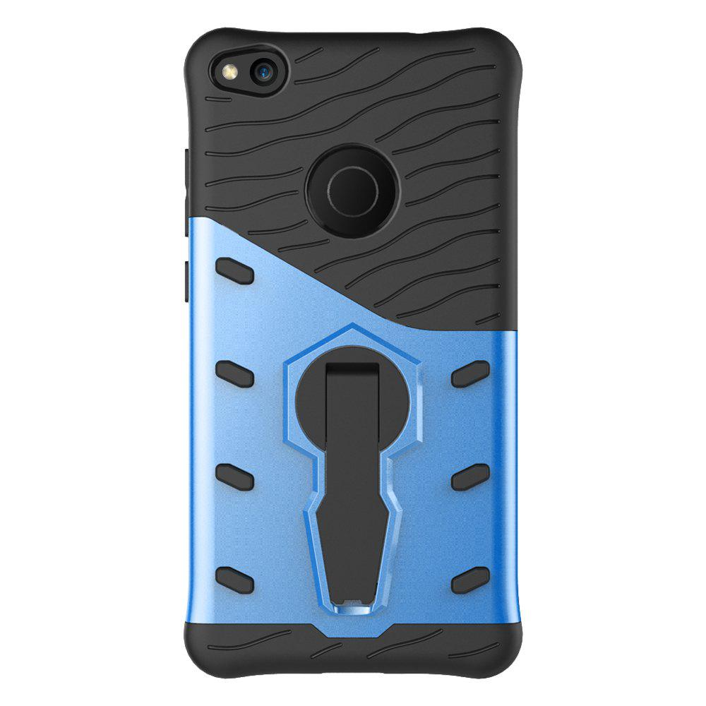 Shockproof with Stand 360 Rotation Back Cover Contrast Color Hard PC Case for Huawei P8 Lite (2017) - BLUE