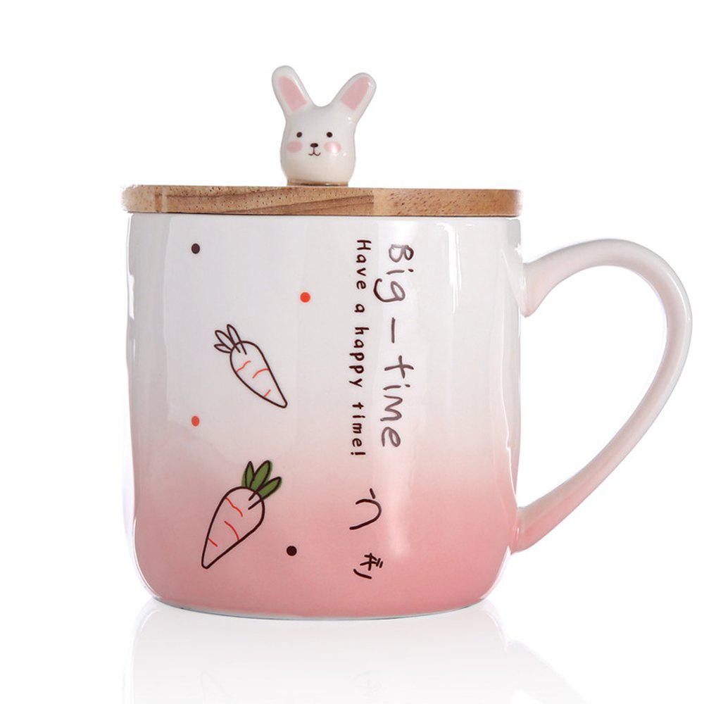 400ML Creative Rabbit Ceramic Cup - PINK