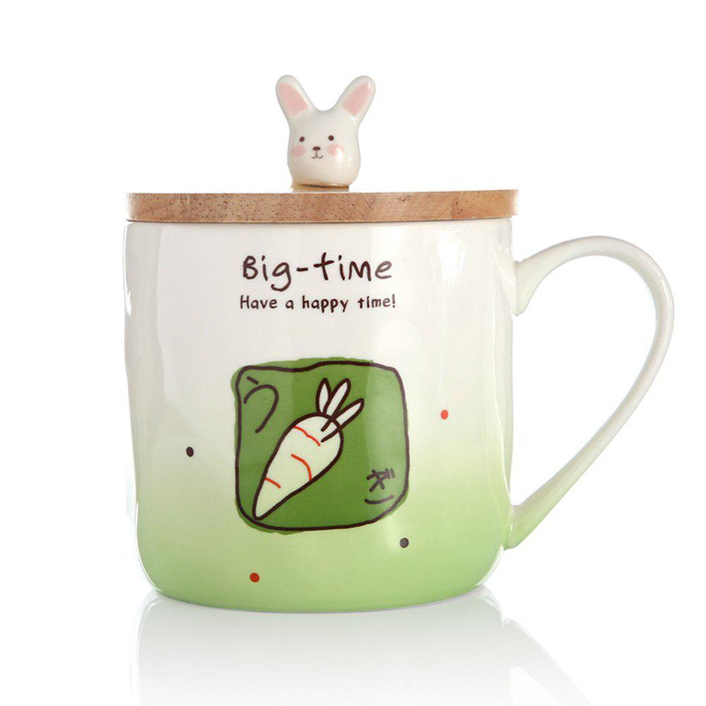 400ML Creative Rabbit Ceramic Cup - GREEN