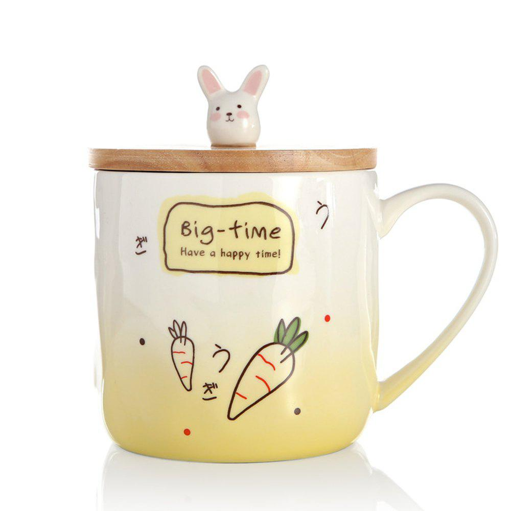 400ML Creative Rabbit Ceramic Cup - YELLOW