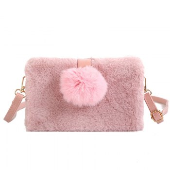Small Package Type Decorative Hair Ball Winter New Plush Single Shoulder Bag Messenger Bag - PINK PINK