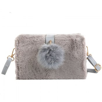 Small Package Type Decorative Hair Ball Winter New Plush Single Shoulder Bag Messenger Bag - GRAY GRAY