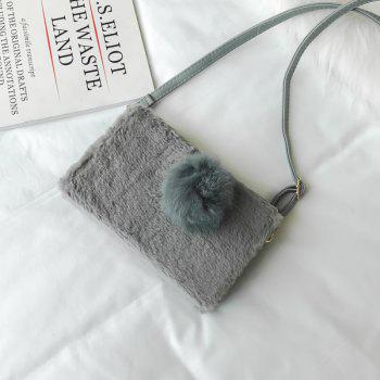 Small Package Type Decorative Hair Ball Winter New Plush Single Shoulder Bag Messenger Bag -  GRAY