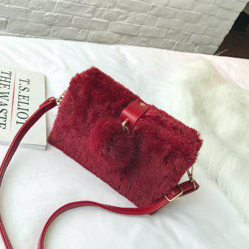 Small Package Type Decorative Hair Ball Winter New Plush Single Shoulder Bag Messenger Bag -  RED