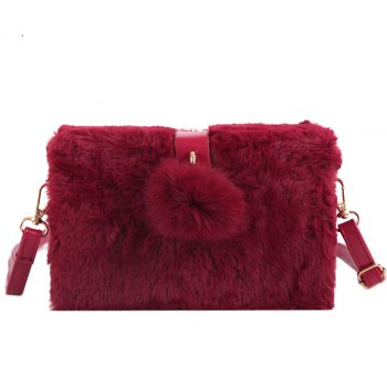 Small Package Type Decorative Hair Ball Winter New Plush Single Shoulder Bag Messenger Bag - RED RED