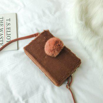 Small Package Type Decorative Hair Ball Winter New Plush Single Shoulder Bag Messenger Bag - BROWN