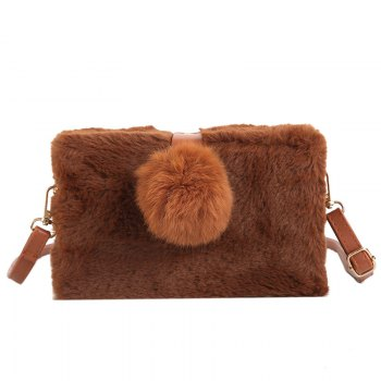 Small Package Type Decorative Hair Ball Winter New Plush Single Shoulder Bag Messenger Bag - BROWN BROWN