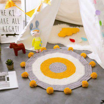 Children Sweater Handmade Circular Ball Cushion Carpet - YELLOW 80CM X 80CM