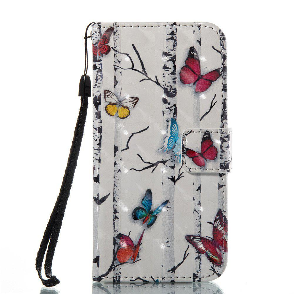 3D Painted Color Butterfly Leather Case for iPhone 8 - COLORFUL