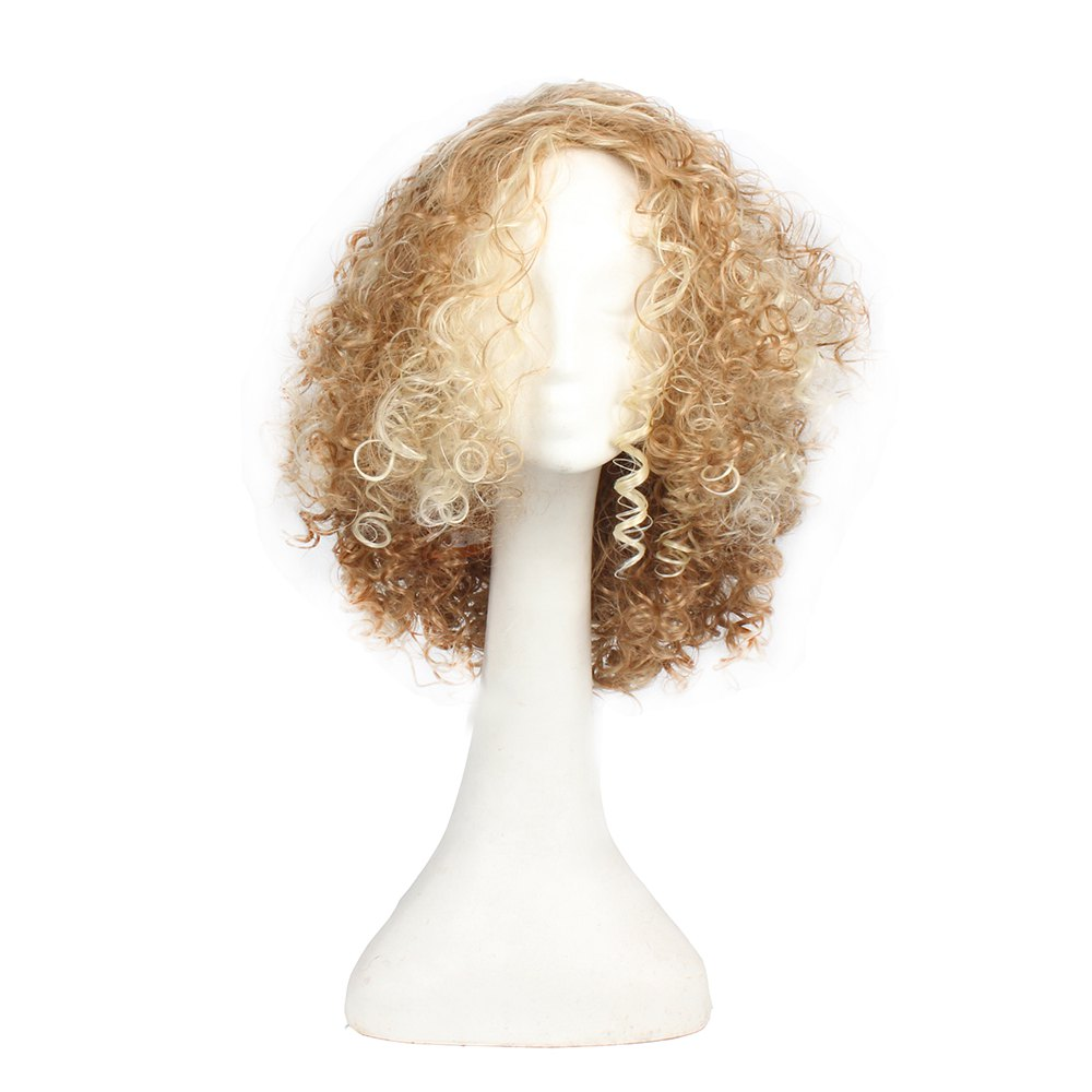 Popular Synthetic Long Afro Kinky Curly Wigs for Women Blonde and Golden Color Hair 14inch, Halloween Party Costume cheap kinky curly wigs for black women synthetic hair synthetic lace front wig with baby hair synthetic lace front wigs