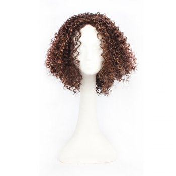 14inch Dark Brown Color Afro Tight Kinky Curly Synthetic Hair Wigs for African American Women - BROWN BROWN