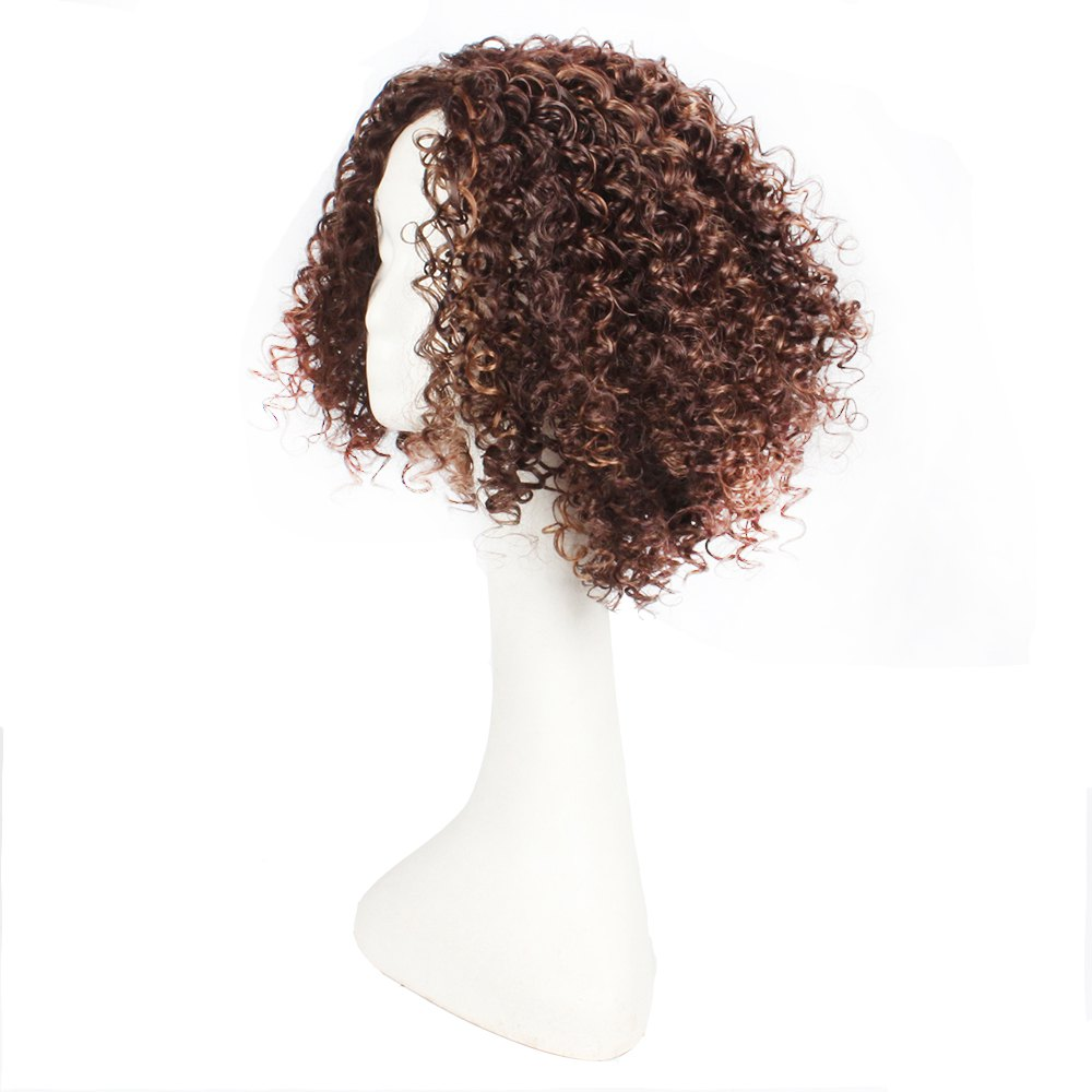 14inch Dark Brown Color Afro Tight Kinky Curly Synthetic Hair Wigs for African American Women - BROWN