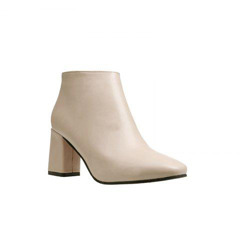 Autumn and Winter New Style High Heel Side Zipper Boots - OFF WHITE 36