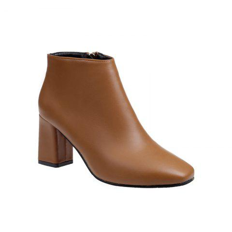 Autumn and Winter New Style High Heel Side Zipper Boots - BROWN 37