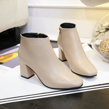 Autumn and Winter New Style High Heel Side Zipper Boots - OFF WHITE OFF WHITE