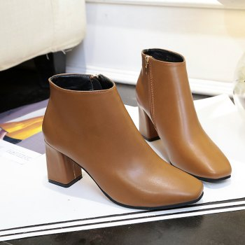 Autumn and Winter New Style High Heel Side Zipper Boots - BROWN BROWN