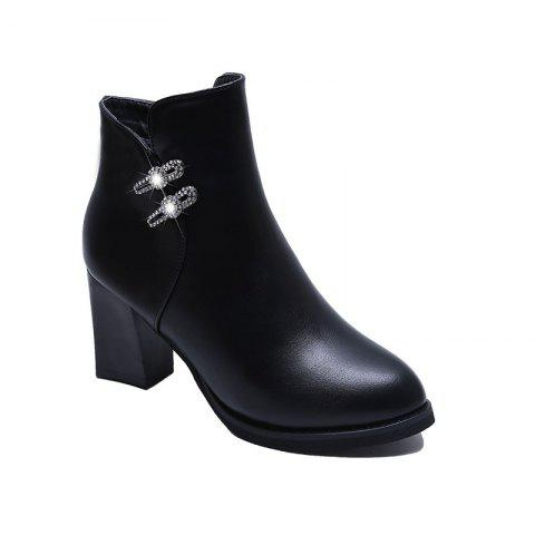 High Heel Buckle Martin Boots Ankle Boots - BLACK 35