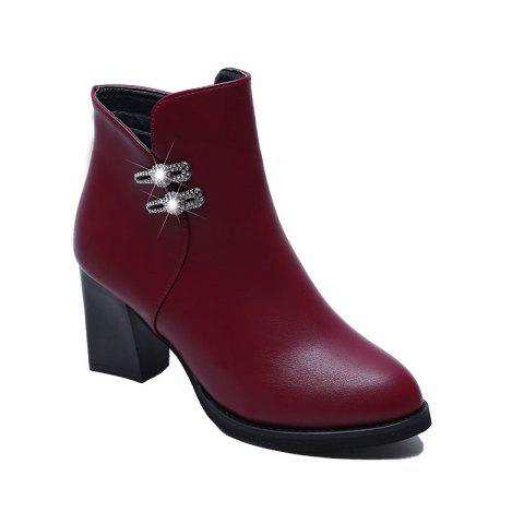 High Heel Buckle Martin Boots Ankle Boots - BURGUNDY 37