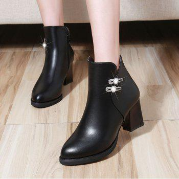High Heel Buckle Martin Boots Ankle Boots - BLACK BLACK