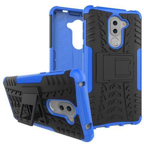 Back cover For Huawei Honor 6X Case Silicone TPU+PC Kiskstand Daul Hard Armor Impact  Phone Case - BLUE