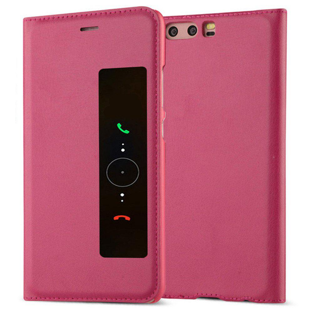 Intelligent Double Window Automatic Sleep Flip Case for Huawei P10 Plus - ROSE RED