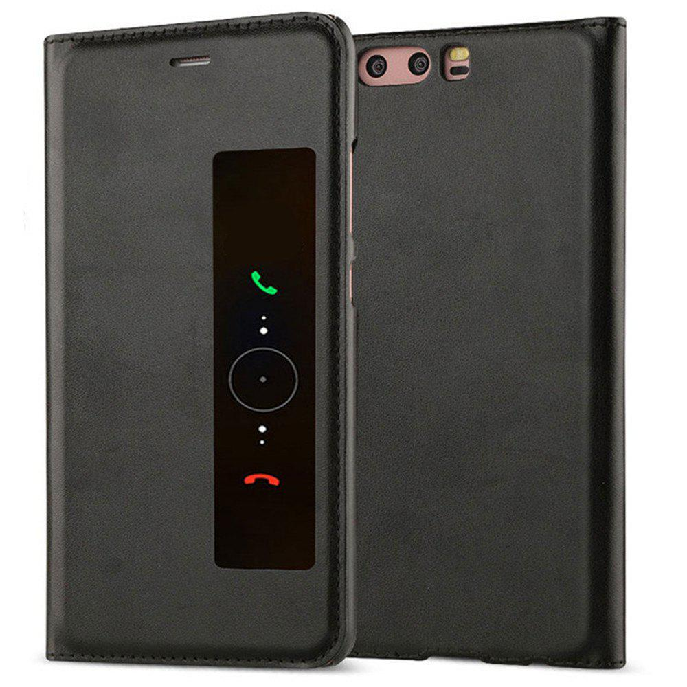 Intelligent Double Window Automatic Sleep Flip Case for Huawei P10 Plus - BLACK