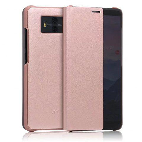 Case For Huawei Mate 10 with Windows Full Body Solid Color Hard Genuine Leather - ROSE GOLD