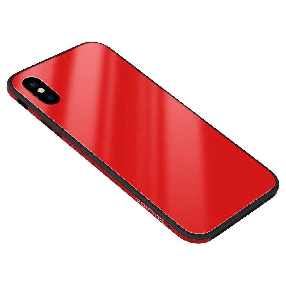 Luxury Anti-Slip Toughened Glass Aviation Aluminum Case for iPhone X - RED