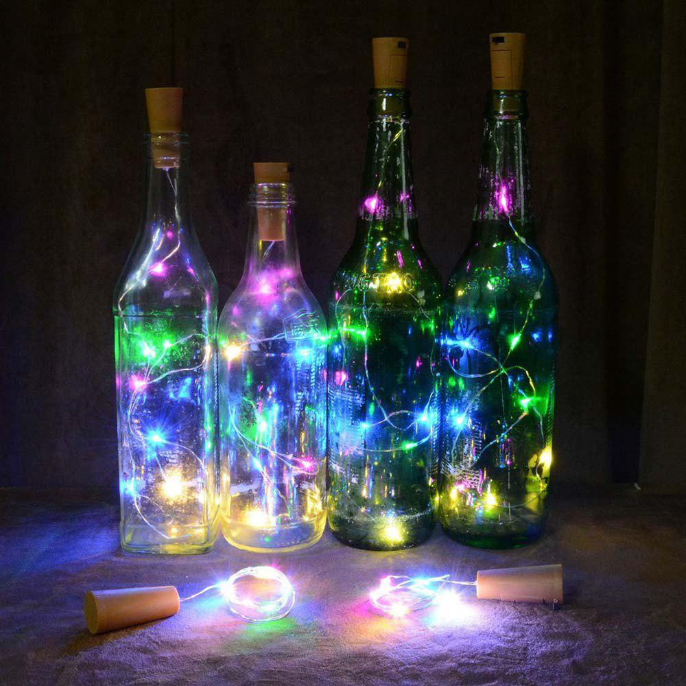 Wine Bottle Cork Lights Copper Wire String Lights for Wedding Festival Party Decor wooden cork wine grapes bunch ornament burgundy c8558 a kurt adler