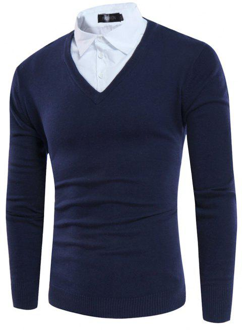 Fake Two Pieces Foreign Trade New Men's Sleeve Head Striped Sweater - NAVY XXXL